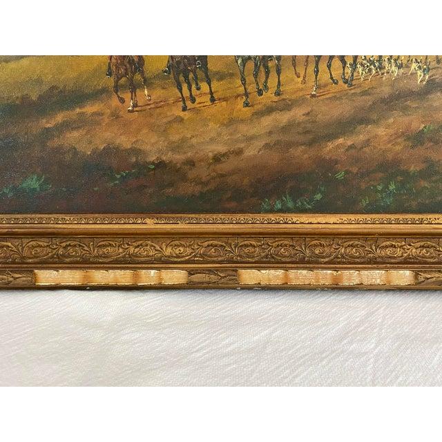 Canvas Antique Framed Hunt Scene Painting For Sale - Image 7 of 13