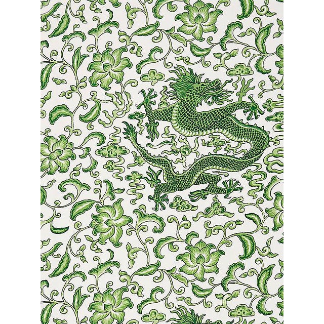 Chinoiserie Scalamandre Chi'En Dragon Linen Print, Jade Fabric For Sale - Image 3 of 3