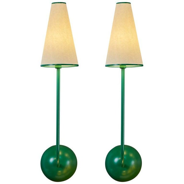 Single-Arm Green Wall Lamp in the Style of Jean Royère For Sale - Image 12 of 12