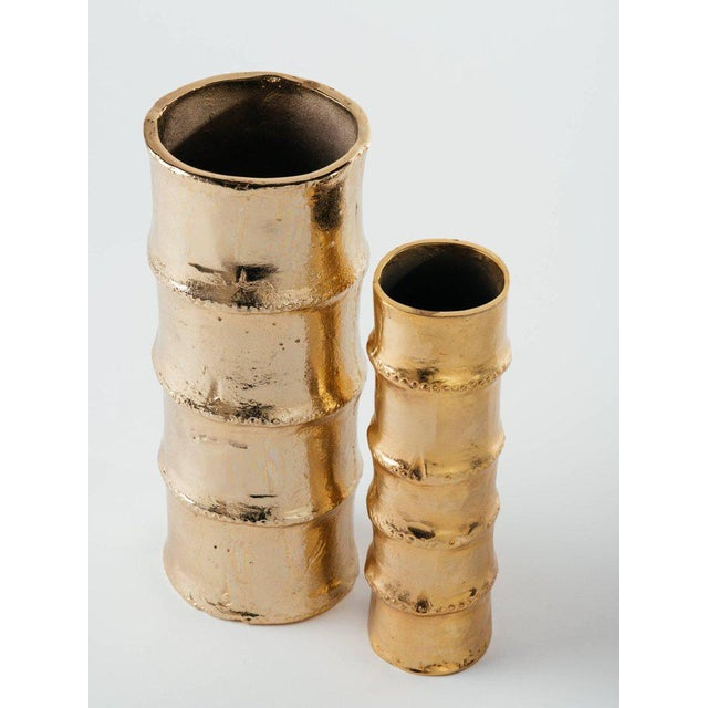 Sophisticated Pair Of Handmade Bamboo Vases In 24 Karat Gold Plated