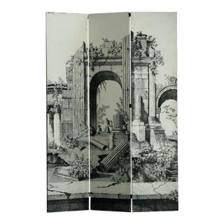 Large 1940s Italian Lithographed Wallpaper Screen For Sale