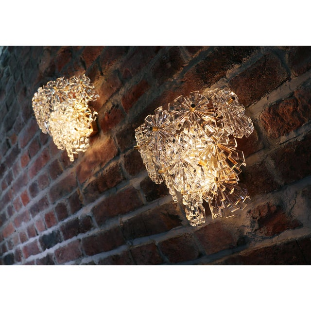 Mid-Century Modern 1970s Germany Kinkeldey Starburst Wall Sconces Crystals & Gilt-Brass - a Pair For Sale - Image 3 of 13