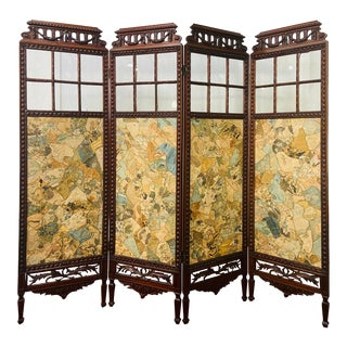 19th Century English Carved Mahogany and Glass Four Panel Room Divider/Screen For Sale