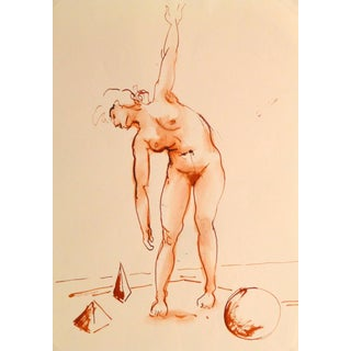 Jean-Baptiste Grancher, French Watercolor & Ink - Crimson Nude For Sale