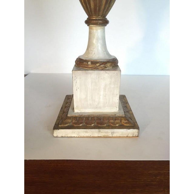 Painted White Wooden Urn Electrified For Sale - Image 4 of 6