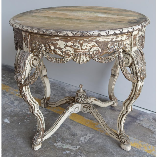 French Carved & Painted Stone Top Table - Image 10 of 10