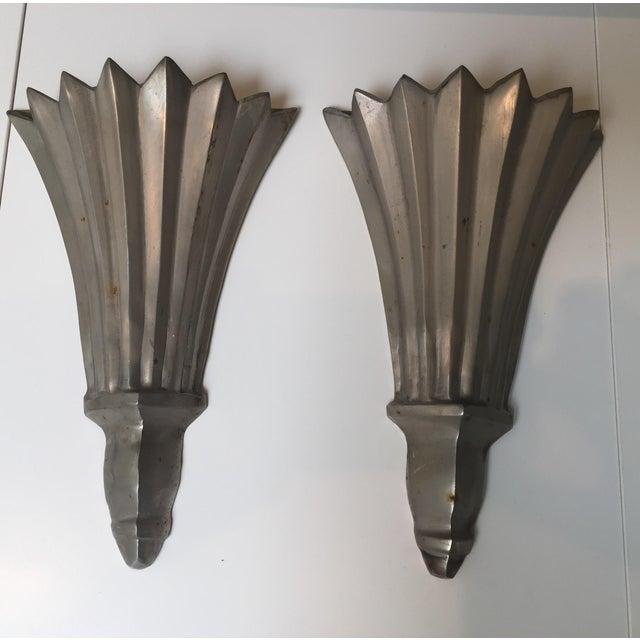 Cast Aluminum Faux Sconces - A Pair - Image 2 of 3