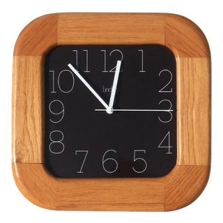 1970s Vintage Oak Linden Clock For Sale