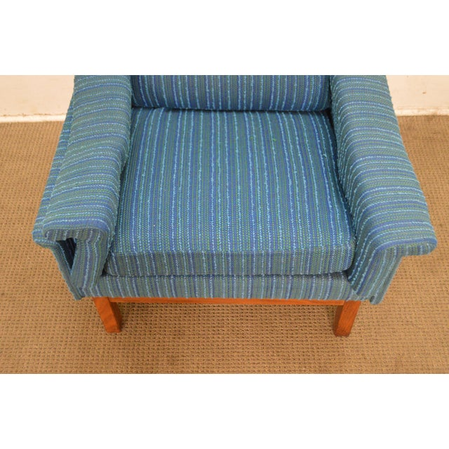 Danish Modern Mid Century Teak Frame Blue Upholstered Lounge Chair For Sale In Philadelphia - Image 6 of 10