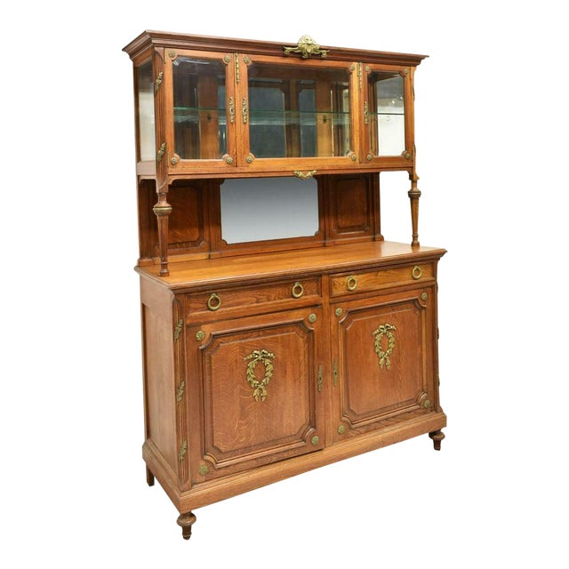 1900's Antique French Oak Display Cabinet For Sale