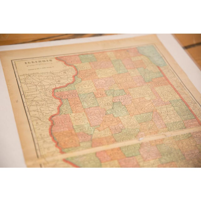 American Cram's 1907 Map of Illinois For Sale - Image 3 of 6