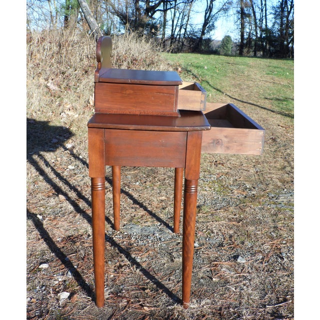 Antique 1840's Sheraton 2 Drawer Stand Desk Vanity Entry Table New England For Sale - Image 9 of 13