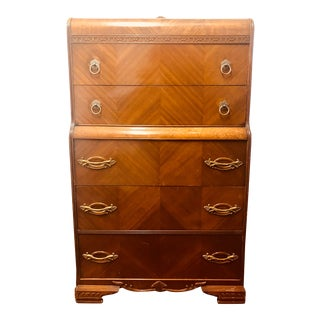 1930s Antique Art Deco Highboy Chest of Drawers For Sale