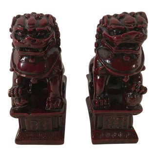 Red Chinese Foo Dog Figurines - a Pair