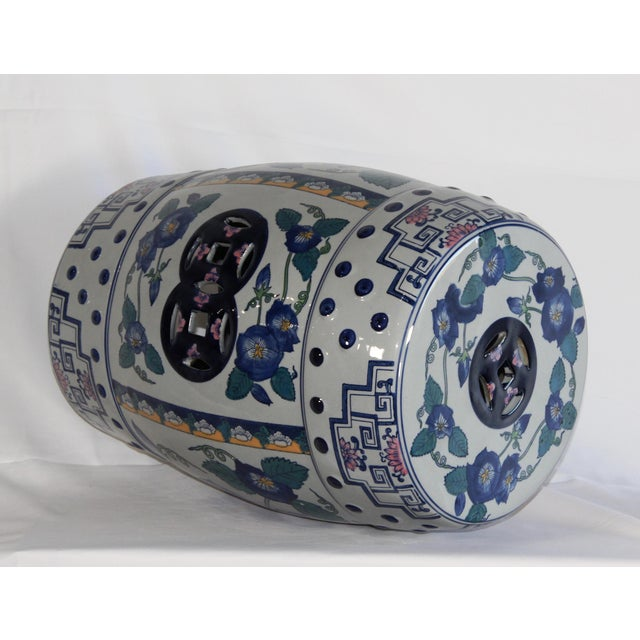 Asian Modern Contemporary Blue & White Floral Porcelain Garden Stool For Sale - Image 3 of 7