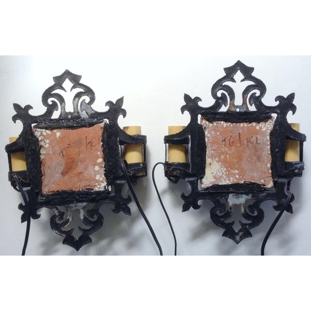 D&M Tile and Iron Wall Sconces - A Pair - Image 3 of 3