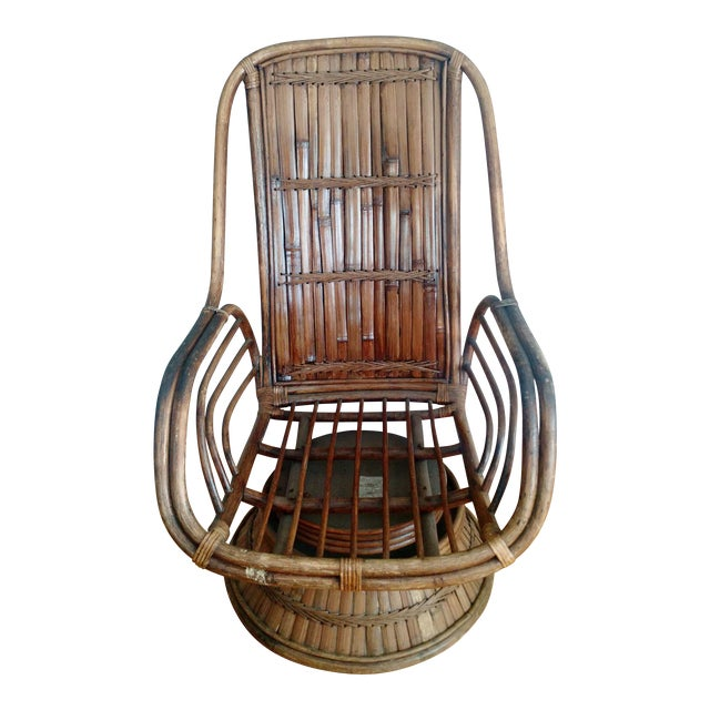 Vintage High-Back Bamboo Lounge Chair - Image 1 of 8