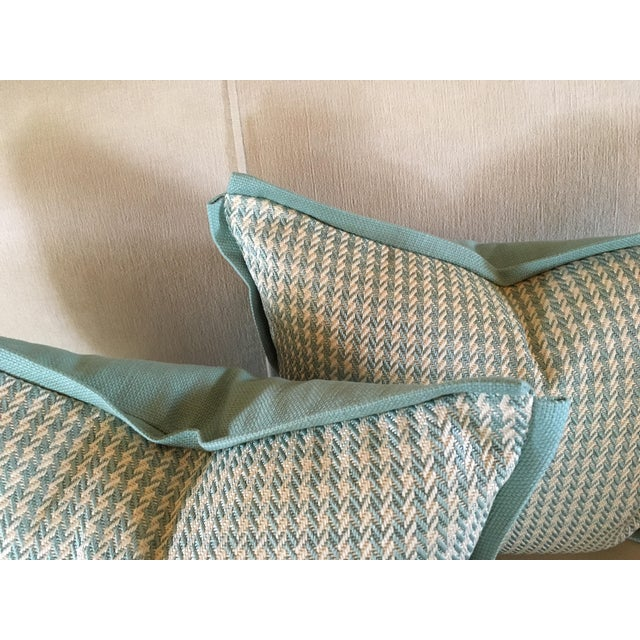 Aqua Houndstooth Pillow Covers - A Pair For Sale - Image 4 of 13