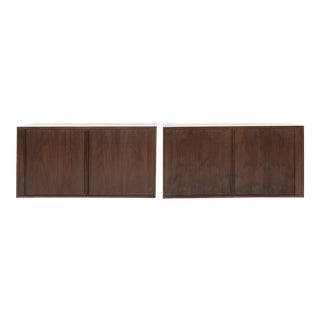 Floating Tambour Door Cabinets by Jorgen Clausen, Denmark, 1950s - a Pair For Sale