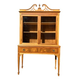 1930's Antique Neo Classical Traditional Curly Maple Cabinet by Berkey & Gay For Sale