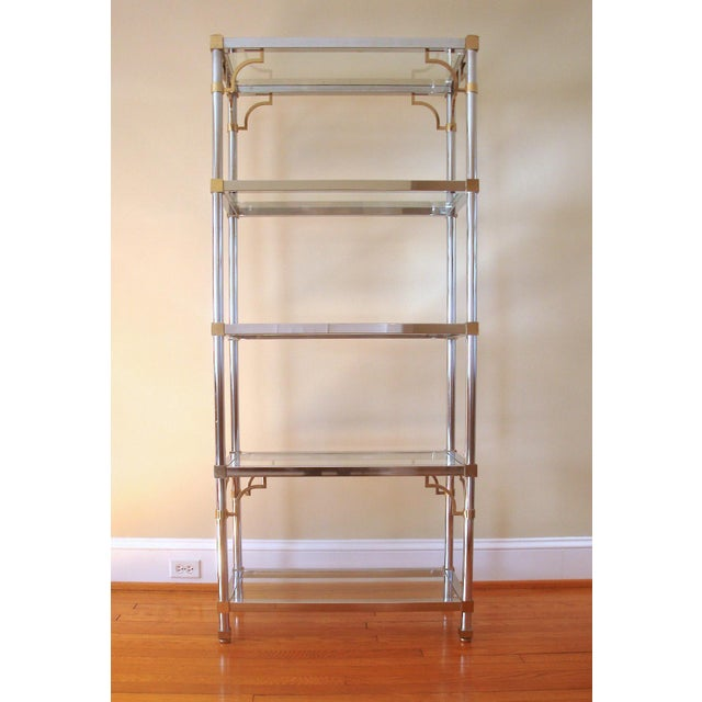 Asian Mid-Century Chinoiserie Chrome, Brass & Glass Etagere Shelf For Sale - Image 3 of 7