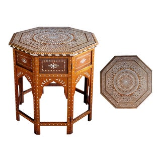 Unusually Large and Finely Inlaid Anglo-Indian Octagonal Traveling Table