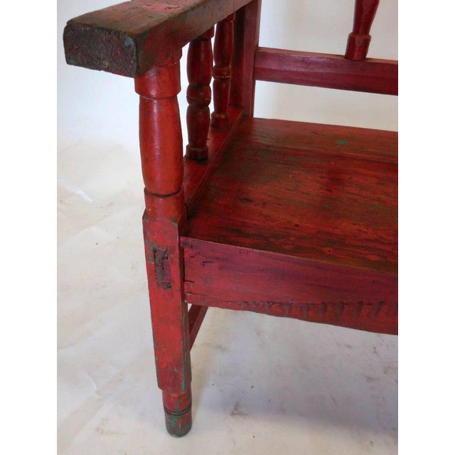 Folk Art Small Vintage Painted Carved Bench For Sale - Image 3 of 8
