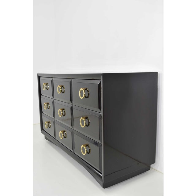 1950s Robsjohn-Gibbings for Widdicomb Chest of Drawers in Black Lacquer For Sale - Image 5 of 13