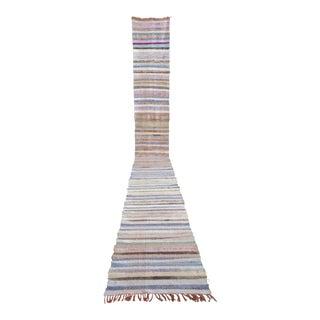 Vintage Handmade Ragrug Runner Rug Cotton Long Runner Stair Tread- 2′ × 18′6″ For Sale