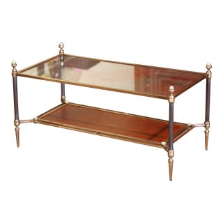 Mid-20th Century French Brass Steel and Leather Coffee Table From Maison Jansen For Sale