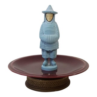 Asian Porcelain Trinket Dish With Metal Man on Top For Sale
