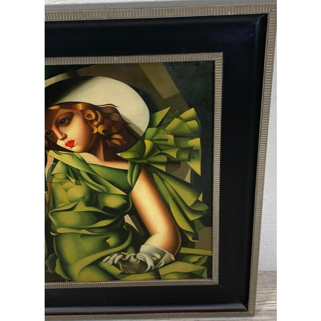 Green Young Lady With Gloves, After Tamara De Lempicka For Sale - Image 8 of 10