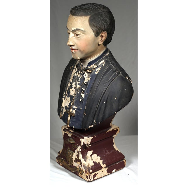 19th Century French Monsignor Plaster Bust - Image 7 of 8