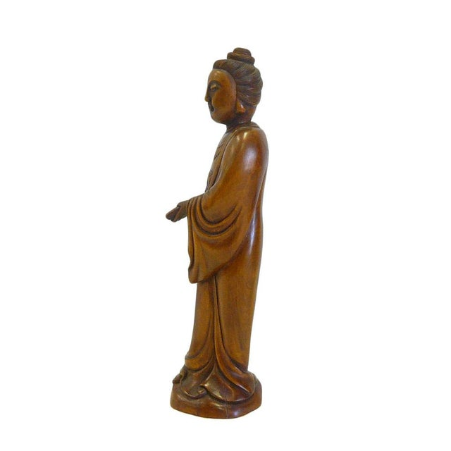 Chinese Boxwood Standing Scholar Kwan Yin Statue cs695-4 For Sale - Image 4 of 7