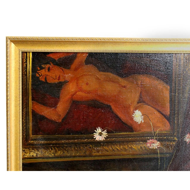Figurative Signed Original Russian Oil Painting in Modigliani Style, 1991 For Sale - Image 3 of 6
