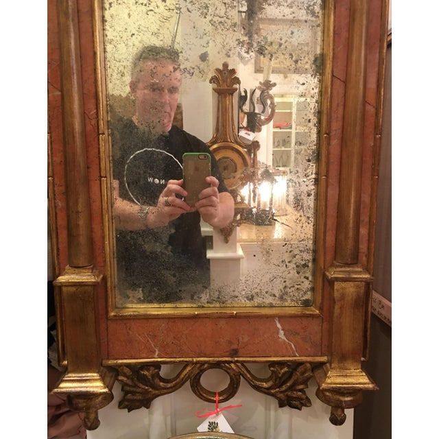 Antique Italian Sienna Marble & Giltwood Mirror - Image 4 of 4