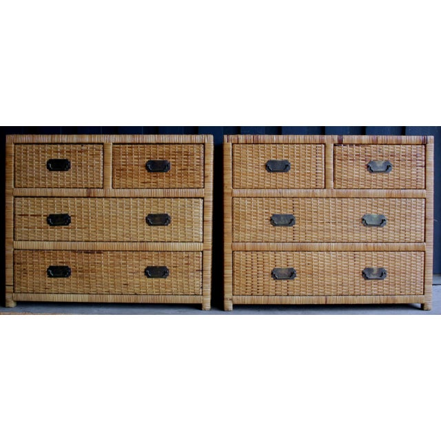 Lacquered Rattan Bachelor Chest (Pair Available) For Sale - Image 13 of 13