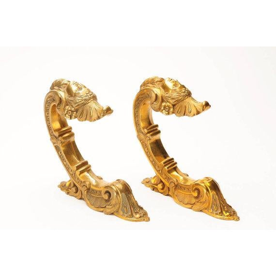 """French 19th century Beautiful Pair of Bronze Figural Wall Brackets-WOW! size 2 x 9"""""""