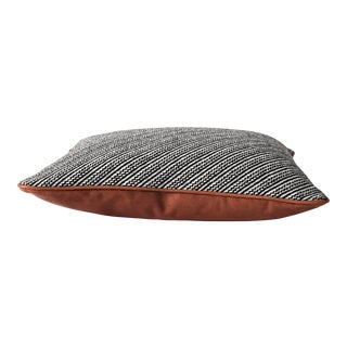 Contemporary Wool & Cognac Leather Pillow For Sale