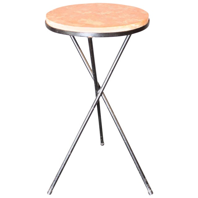 French Marble-Top Table with Iron Base - Image 1 of 7