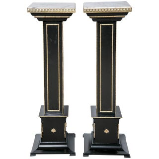 Maison Jansen Bronze Ebonized Pedestals - A Pair For Sale