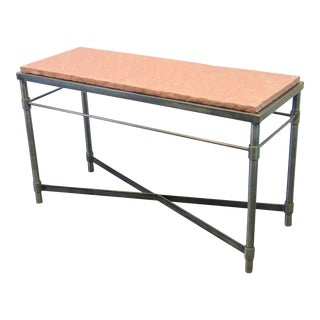 Industrial Design Steel & Stone Console Table For Sale