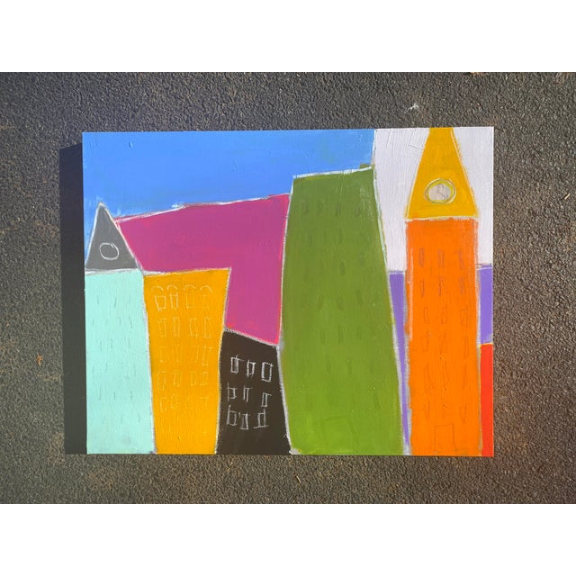 Bold and bright shapes and colors suggest an abstracted city scape. 24 x 30 x 1.5. Edges painted pale grey, back wired,...