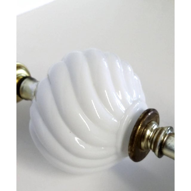 Vintage Italian White Marble Base Milk Glass Lamp For Sale - Image 4 of 6