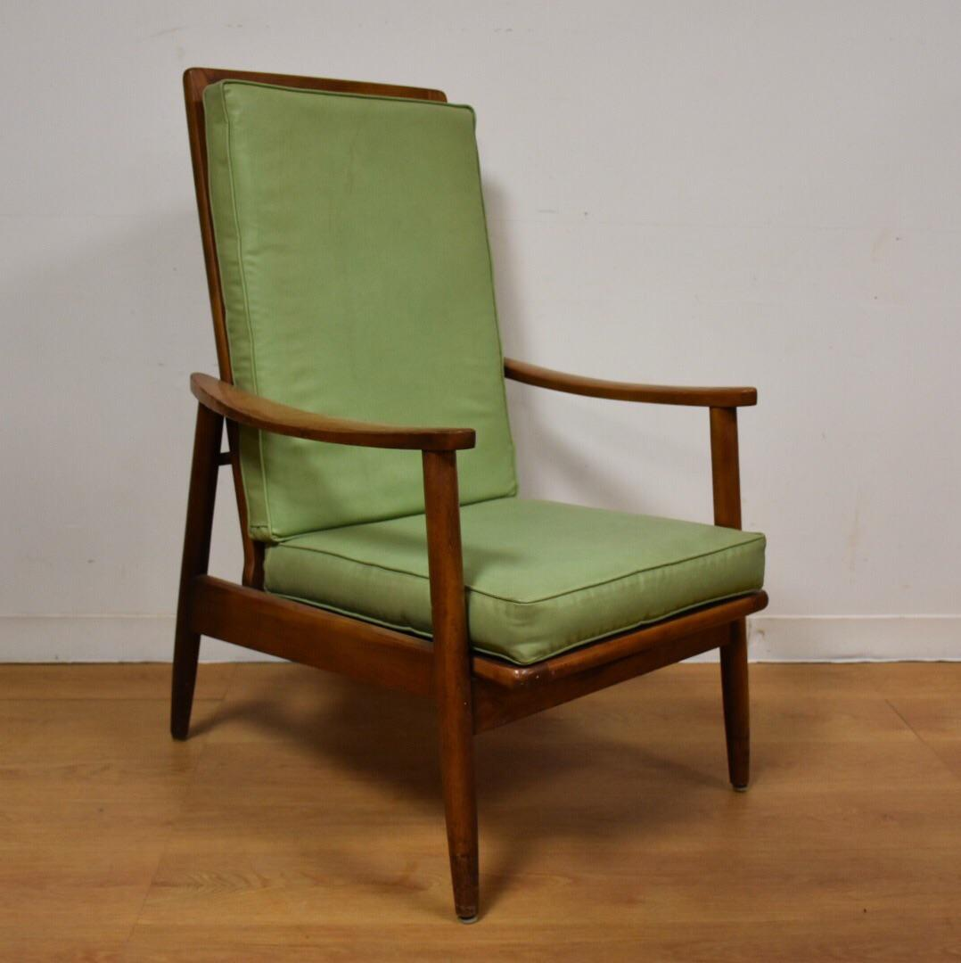 Mid Century Oak U0026 Green Vinyl Lounge Chair   Image 2 ...