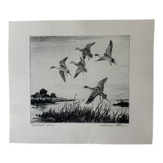 """1950s """"Pintails"""" Landscape Wood Etching Signed Artist Proof by Churchill Ettinger For Sale"""