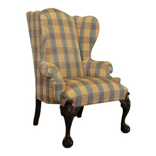 Drexel Heritage Chippendale Style Mahogany Ball and Claw Wing Chair For Sale