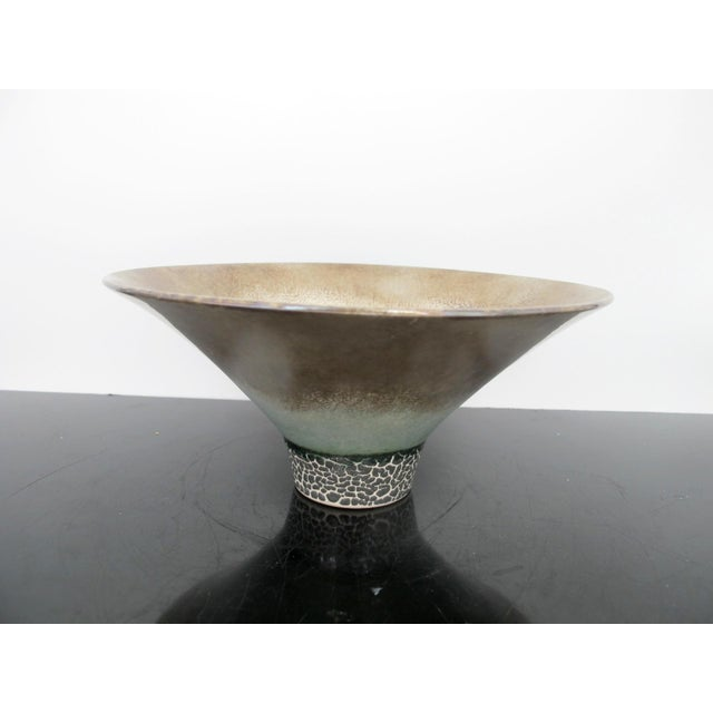 Ceramic Kathy Erteman American Nyc Studio Pottery Conical Reflective Bowl Cup For Sale - Image 7 of 7