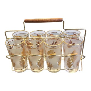 Vintage Gold Foliage Glasses With Brass and Wood Carrier - 9 Pieces For Sale