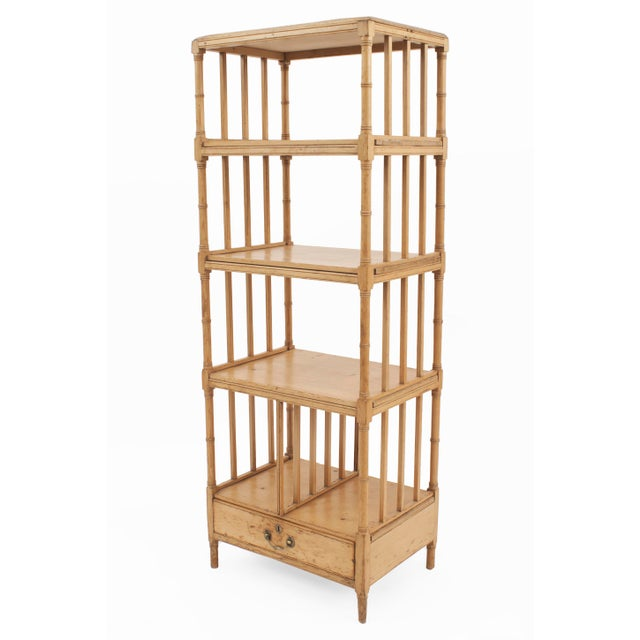 English Regency (19th century) narrow pine faux bamboo trimmed étagère / what-not with three open shelves and slat sides...